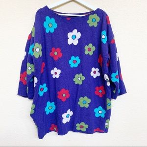 GUDRUN SJODEN Wool Blend Floral Knit Sweater